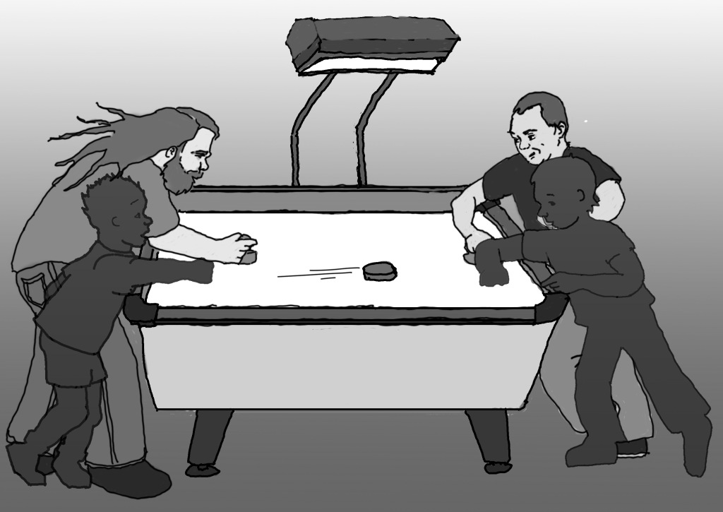 Adult Ben and Miles playing air hockey, with silhouettes of themselves as children.